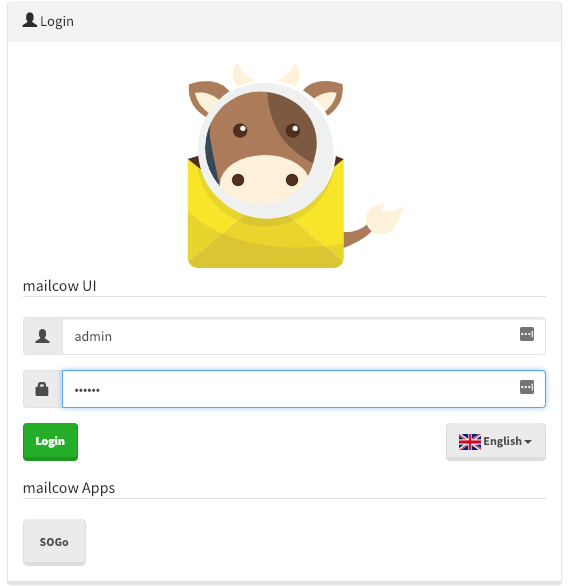 Mailcow login page