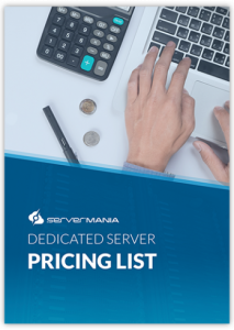 Hand on keyboard with Dedicated Server Pricing List text
