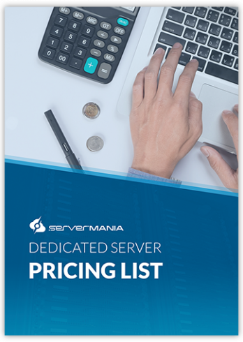 Cover of dedicated server pricing list document with a hand on a laptop