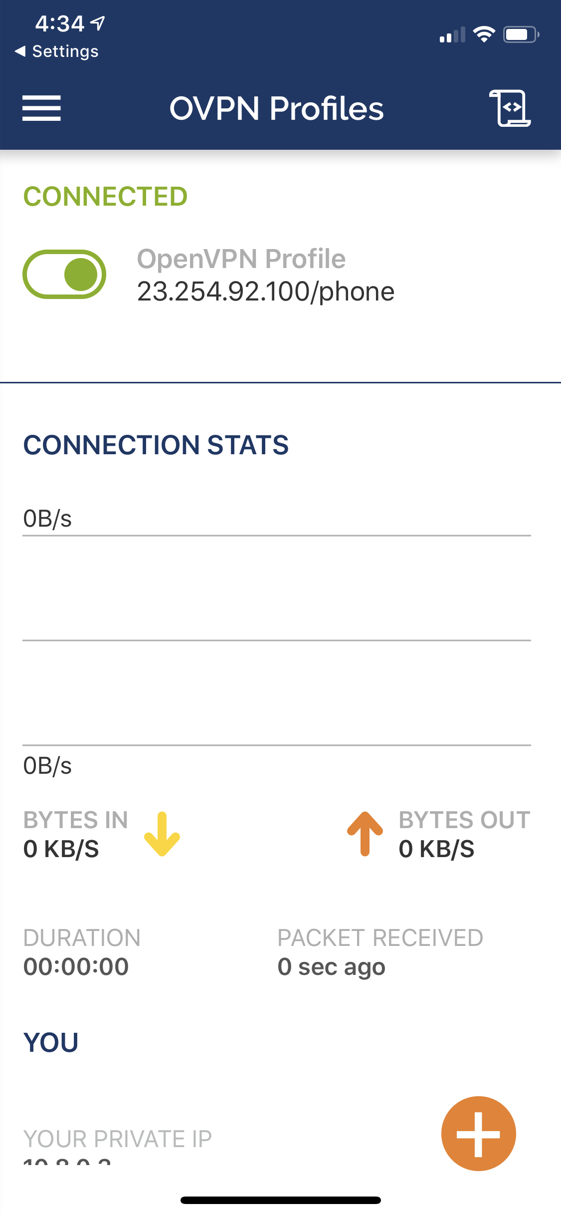 OpenVPN profile connection stats