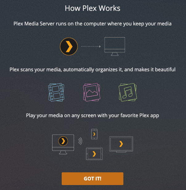 The Plex setup page guides you through the media server setup process.