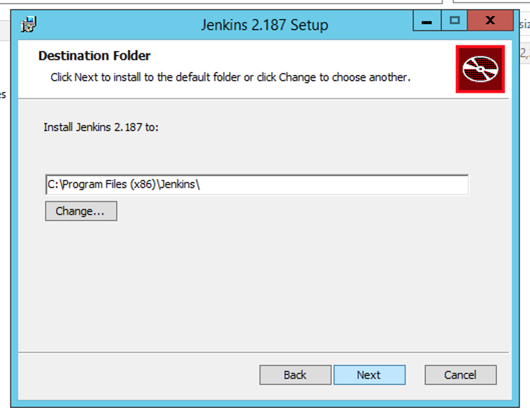 Select the directory for installing Jenkins