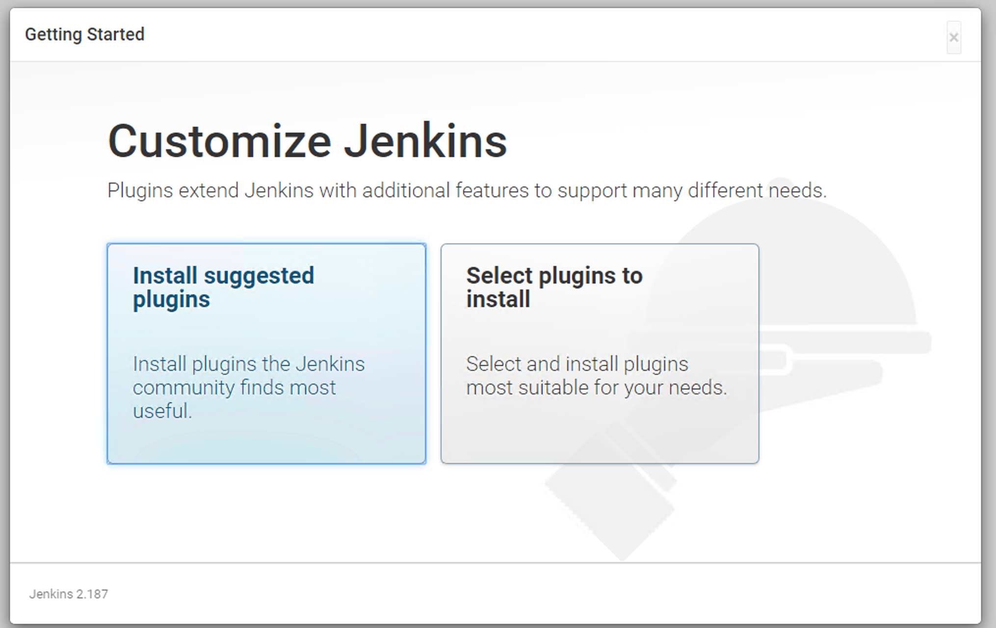 Choose to install suggested plugins or select plugins to install.