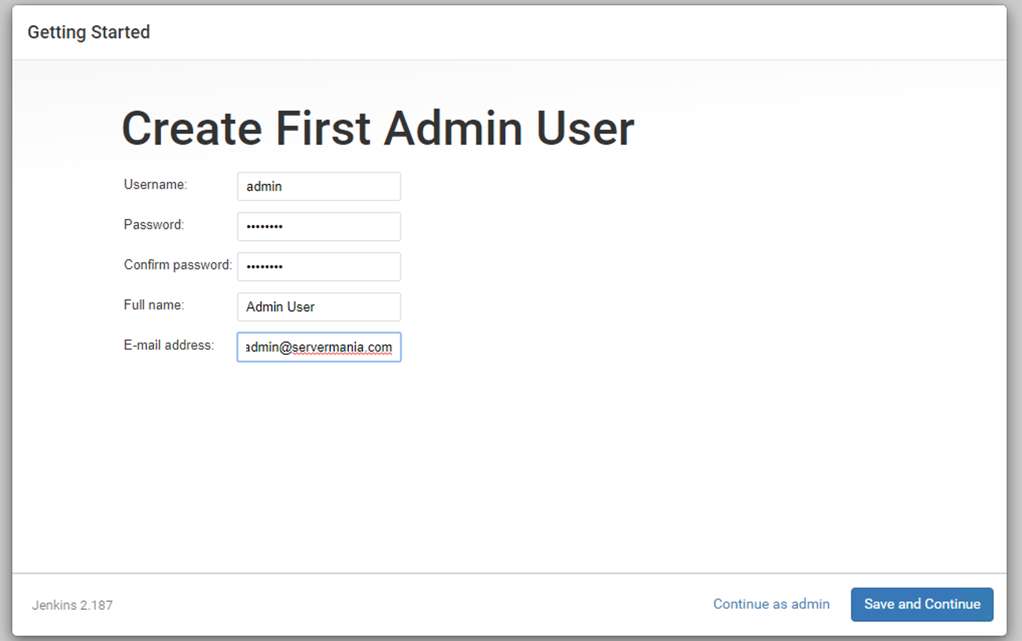 Create first Jenkins Admin User