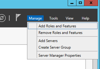 Click Manage and then click Roles and Features